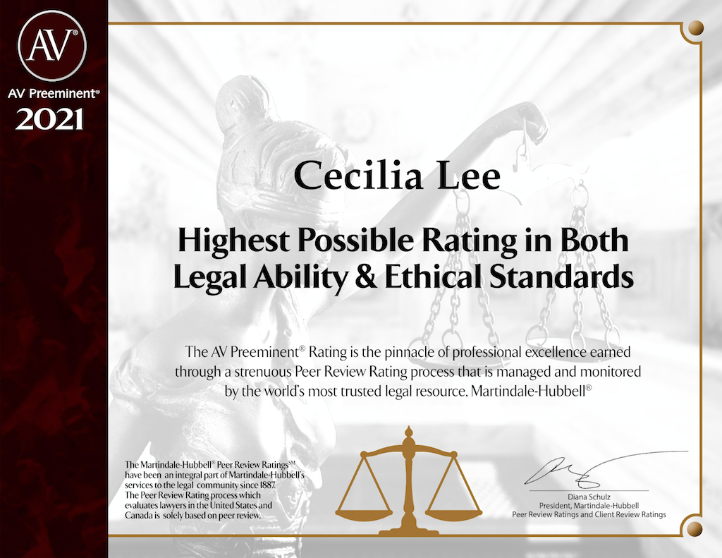 Martindale Hubbell Digital Plaque-Cecilia Lee.Martindale Hubbell Digital Plaque-Cecilia Lee.1-21-2021. Boutique Law Firm, Law Firm, Reno Small Business, Reno Law, Reno Attorney, Reno Law Firm, Reno Small Business, Reno Boutique Law Firm.
